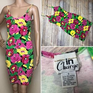 Vintage In Charge Floral Bodycon Dress 90s Flowers